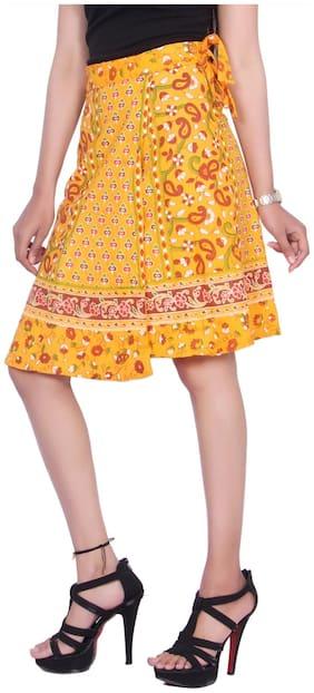 KASTIEL Printed Wrap Skirt Mini Skirt - Yellow