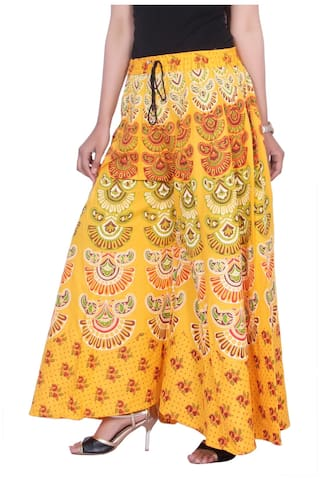 Women's Trouser Palazzo Casual Yellow Cotton Kastiel Free Size Printed PUq4ZRw