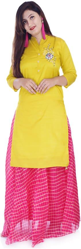 Kastiel Embellished Kurta and Skirt Sets Yellow;Pink