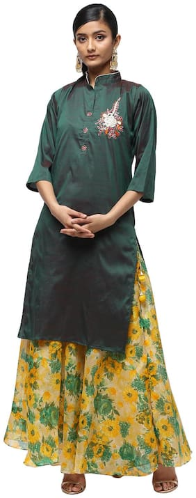 Kastiel Embellished Kurta and Skirt Sets Green;Yellow