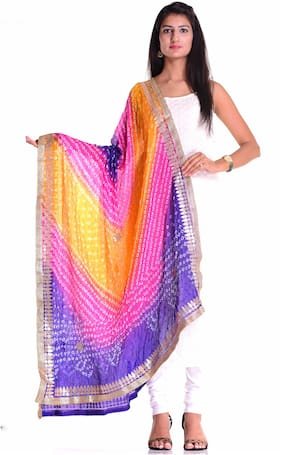 Kastiel Multi Color Bandhani Art Silk Dupatta Gota Patti Work With Border For Women