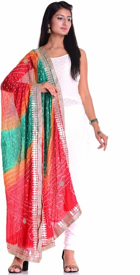 Kastiel Multi Color Bandhani Art Silk Dupatta Gota Patti Work With Border For Women