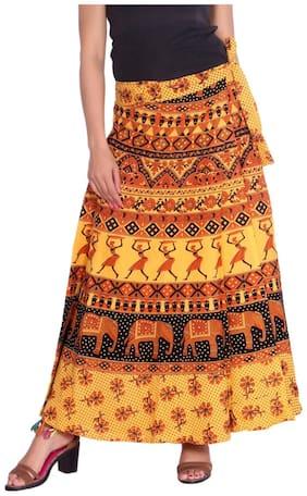 KASTIEL Printed Wrap skirt Maxi Skirt - Yellow