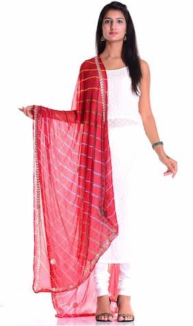 Kastiel Red Bandhani Art Silk Dupatta Gota Patti Work With Border For Women