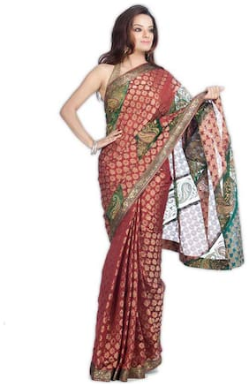 Kataan Bazaar Maroon Color Banarasi Chanderi Saree