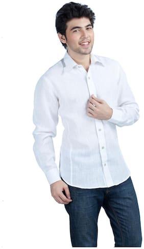 Kataan Bazaar Pure White Color Linen Shirt