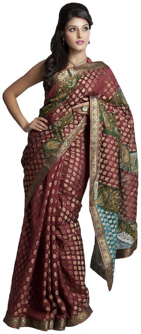 Kataan Bazaar Red Chanderi Cotton Saree