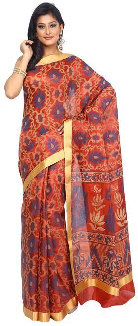 Kataan Bazaar Rust Tussar Saree