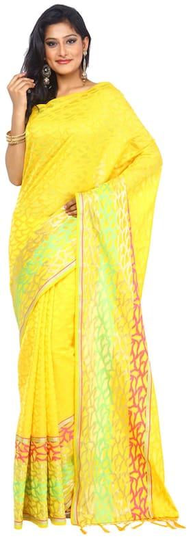 Kataan Bazaar Yellow Cotton Saree