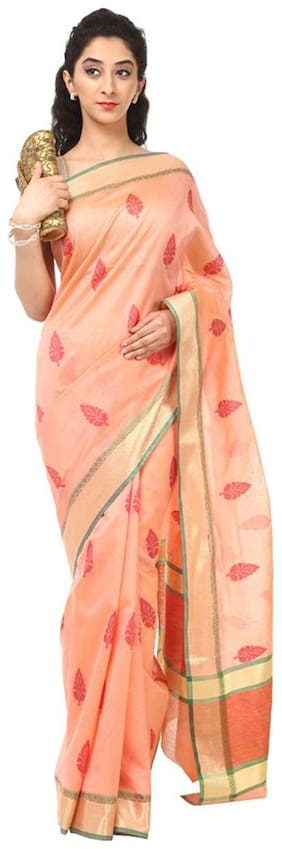 Kataan Bazaar Peachpuff Color Banarasi Cotton Saree