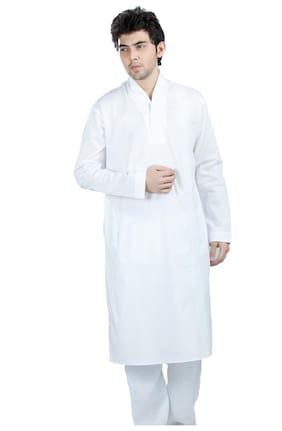 Kataan Bazaar Men's Cotton Kurta Pyjama - Plain White