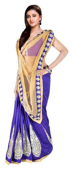 Kataan Bazaar Purple Net Saree