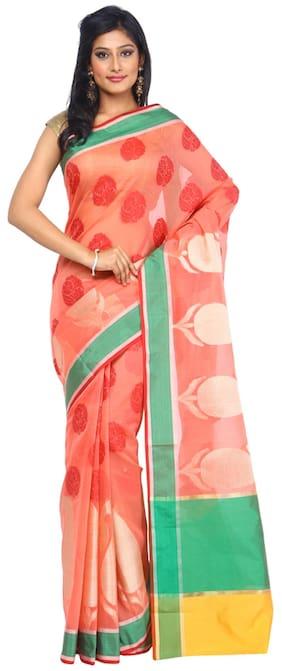 Kataan Bazaar Pink Silk Blend Saree