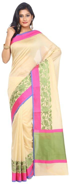 Kataan Bazaar Beige Silk Blend Saree