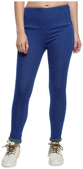 KATVON Women Slim fit High rise Solid Jeans - Blue