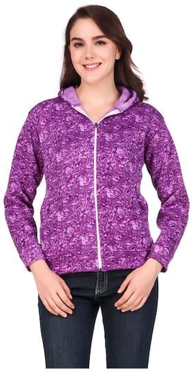 KAVYA RETAIL Women Printed Hoodie - Purple