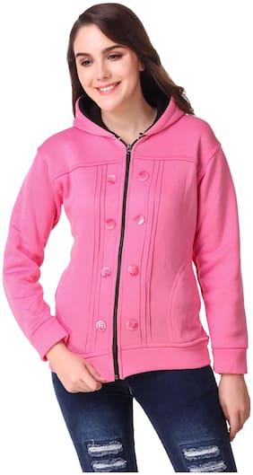 KAVYA RETAIL Women Solid Hoodie - Pink
