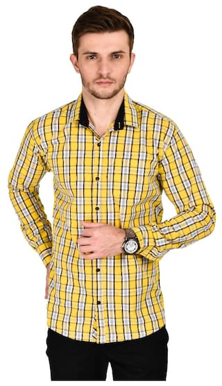 s Kayadeals Yellow Men Shirt Casual iwDHviz