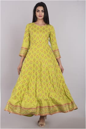 KBZ Women Green Floral Anarkali Kurta