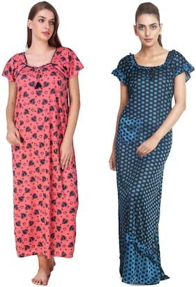 Keoti Hosiery Night gown Printed Nightwear Multi - (Pack of 2 )