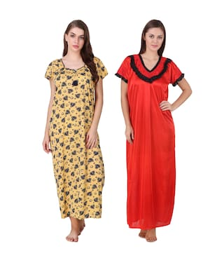c83b4522b4 Buy Keoti Hosiery Night Gown Printed Nightwear Multi - (Pack of 2 ...