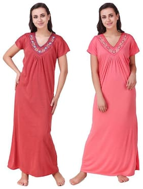 Women Embroidered Nightdress ,Pack Of 2