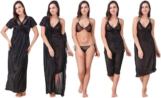 Keoti Black Robe and Lingerie Set & Night Gown