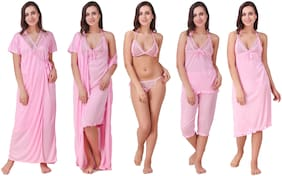 Keoti Pink Night Gown & Robe and Lingerie Set