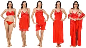 Keoti Red Robe and Lingerie Set & Night Gown