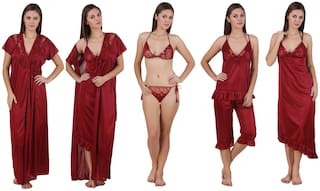 Keoti Maroon Robe and Lingerie Set & Night Gown