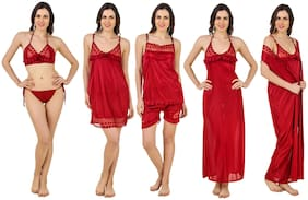 Keoti Maroon Night Gown & Robe and Lingerie Set