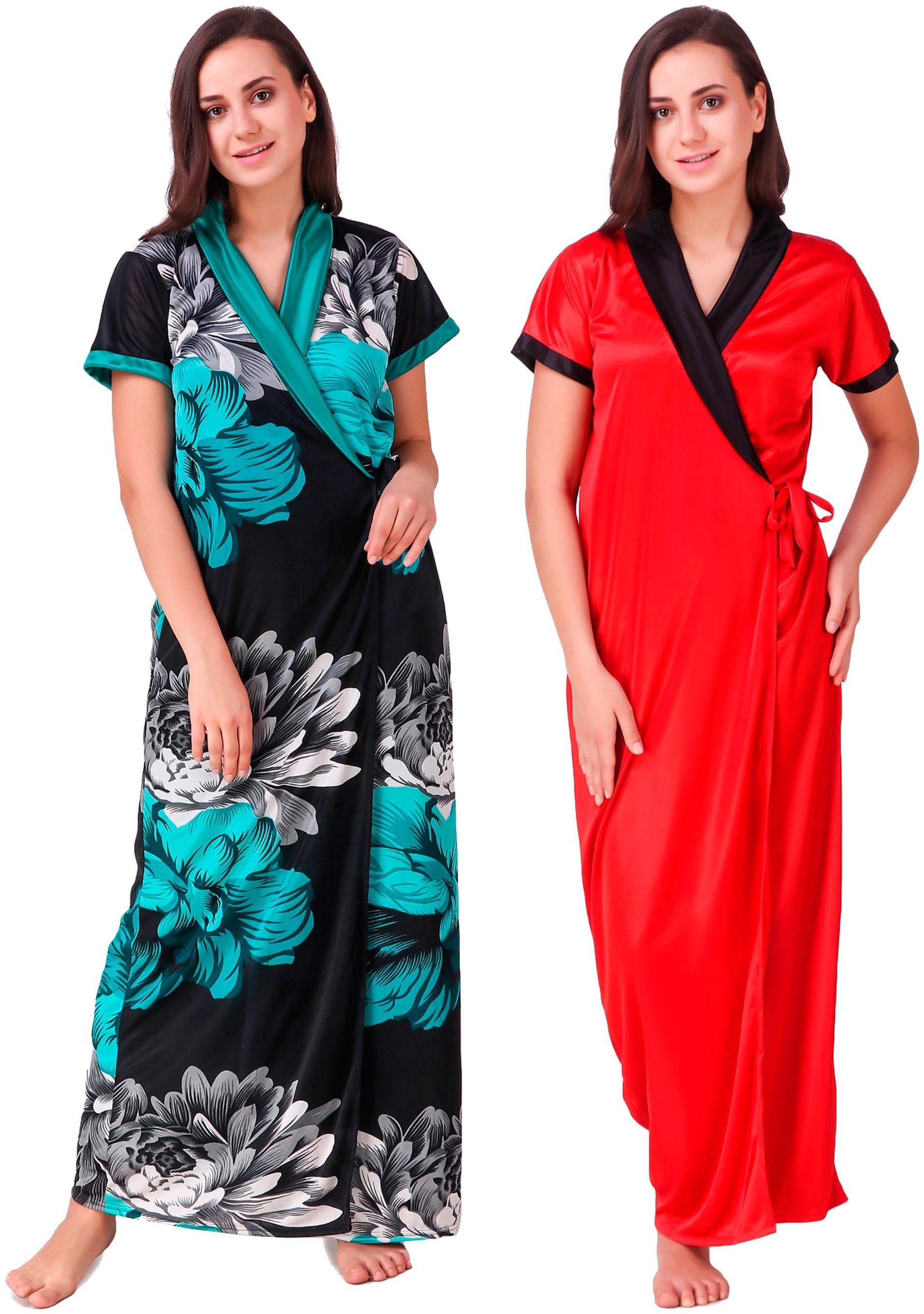 451e2b2cea5 Buy Keoti Satin Wrap Gown Printed Nightwear Multi - (Pack of 2 ...