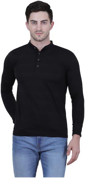 Men Henley Neck Solid T-Shirt Pack Of 1