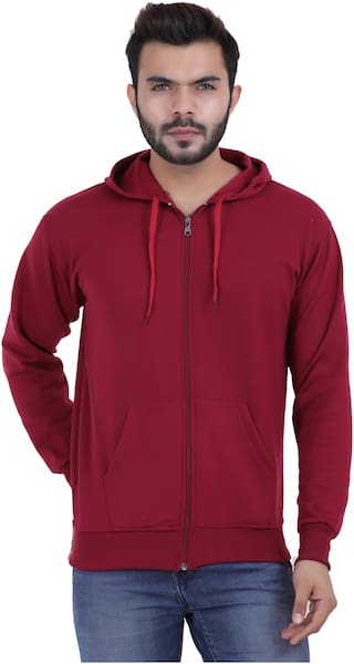 KETEX Men Maroon Hooded Hoodie