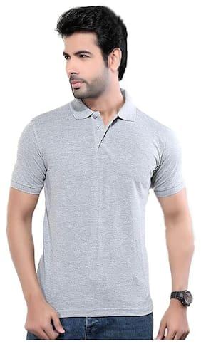 64a7de8f528 KETEX Men Slim Fit Polo Neck Solid T-Shirt - Grey