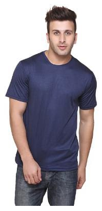 KETEX Men Blue Slim fit Cotton Blend Round neck T-Shirt - Pack Of 1