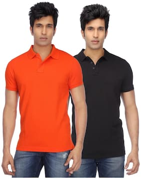 KETEX Men Regular fit Polo neck Solid T-Shirt - Multi