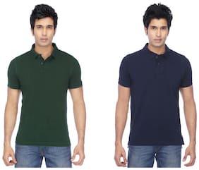 KETEX Men Regular fit Polo neck Solid T-Shirt - Multi