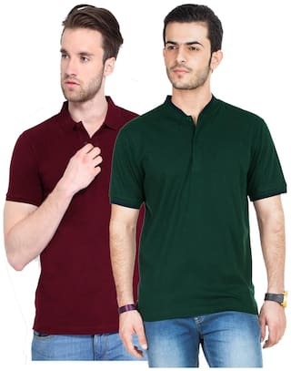 KETEX Men Multi Slim fit Cotton Blend Polo Collar T-Shirt -Pack of 2