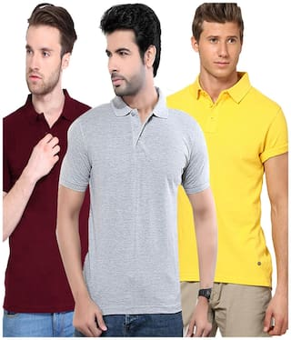 KETEX Men Slim fit Henley neck Solid T-Shirt - Multi