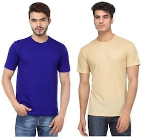KETEX Men Slim fit Round neck Solid T-Shirt - Multi