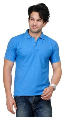KETEX Men Slim fit Polo neck Solid T-Shirt - Blue