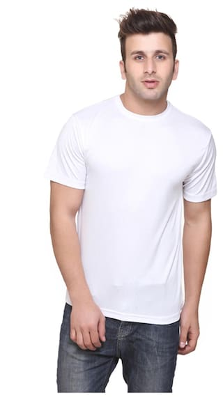 f411abac52a Buy KETEX Men Slim Fit Round Neck Solid T-Shirt - White Online at ...