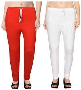KEX  Churidar Leggings For Women Combo (Pack of- 2) color (Red;White)