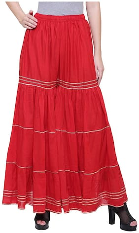 KEX Red Solid Flared Palazzo