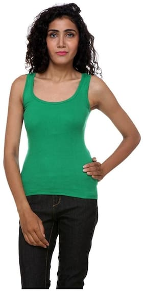 KEX Cotton Solid Green Color Tank Top For Women