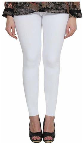 KEX Cotton Solid Ankle Legging - White