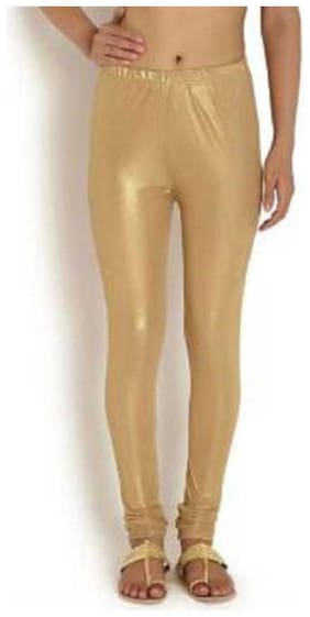 KEX Nylon Solid Churidar Legging - Gold