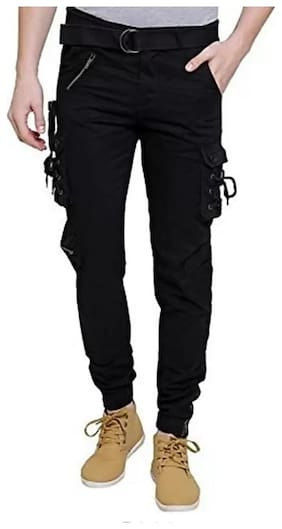 Keyur Men Black Solid Regular fit Travel friendly Cargos