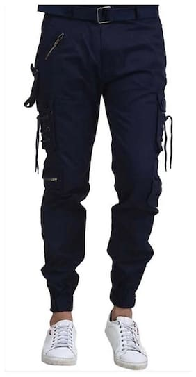 Keyur Men Navy blue Solid Regular fit Travel friendly Cargos